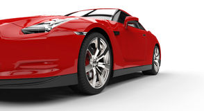 Red Sports Car Extreme Closeup Stock Photos