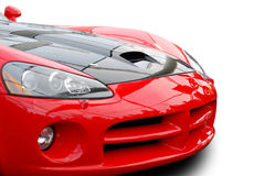 Red sports car front isolated. Red sports car isolated front side angle stock image