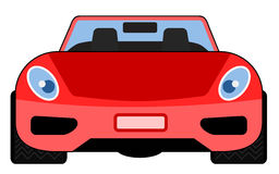 Red sports car front view. Vector illustration of a sports car cartoon style vector illustration