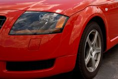 Red Sports car Headlamp. Royalty Free Stock Photography