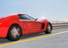 Red sports car on highway Royalty Free Stock Photography