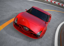 Red sports car on highway Stock Images