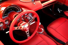 Red Sports Car Interior Steering Wheel Royalty Free Stock Photos