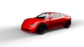 Red sports car isolated on white. Background, 3d render, generic design, non-branded Royalty Free Stock Images