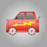 Red sports car with the lightning bolt Stock Photo