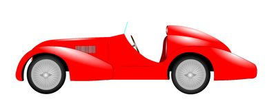 Red sports car. Over white retro style Stock Images