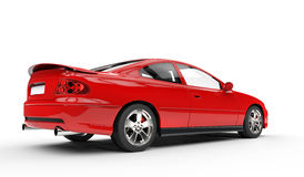Red Sports Car - Rear Side View Stock Photo