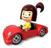 Red sports car ride girls. 3D Children Character Stock Images