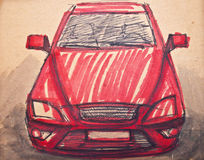 Red sports car sketch Royalty Free Stock Photo