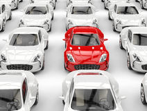 Red sports car stands out. In the crowd Stock Images