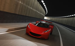Red sports car in tunnel. 3D of red sports car driving in tunnel Stock Photography