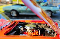 Red sports car v8 engine Royalty Free Stock Images