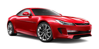 Red sports car. Red sports car on white background Stock Photography