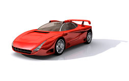 Red Sports Concept Car. 3D Model of red sports concept car, with clipping path, isolated on white background vector illustration