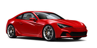 Red sports coupe car Royalty Free Stock Images