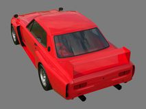 Red sports coupe. Red race car. Retro race. Japanese School tuning. Uniform gray background. Three-dimensional model. Raster illus Royalty Free Stock Photos