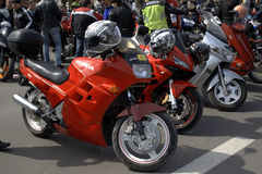 Red sports motorbikes parked Royalty Free Stock Photo