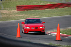 Red Sports Sedan on Race Track stock photos