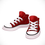 Red sports sneakers with white laces Stock Photography