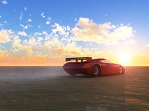 Red Sports and Sunrise. Red generic digital sports car on the horizon with sunrise against the sky stock illustration