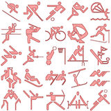 Red sports symbols icon set Stock Image