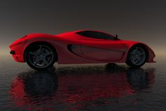 Red Sportscar on Dark Water Royalty Free Stock Image
