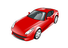 Red High Performance Sports Car. An illustration of a stylish red sportscar Stock Photos
