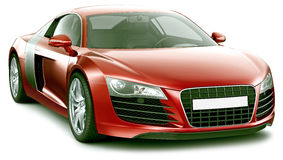 Red sporty premium-class car Stock Images