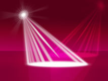 Red Spotlight Indicates Stage Lights And Entertainment. Red Spotlight Representing Stage Lights And Floodlight Stock Photos