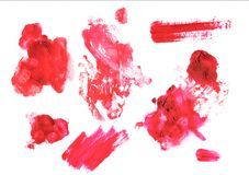 Red spots of paint. Red and pink spots of paint watercolor and acrylic Royalty Free Stock Photos