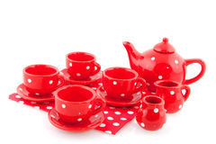 Red spotted crockery Stock Photo