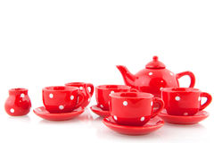 Red spotted crockery Stock Images