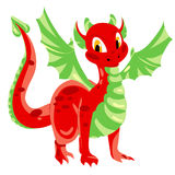 Red spotted dragon with green membranous wings Royalty Free Stock Photo