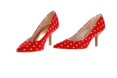 Red spotted shoes. Stock Photo