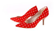 Red spotted shoes. Royalty Free Stock Photo