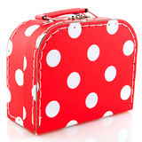 Red spotted suitcase. For luggage while on vacation Royalty Free Stock Images