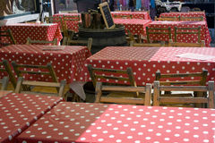 Red spotted tableclothes. Terrace with tables and red spotted tableclothes Stock Images