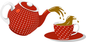 Red spotted teapot and cup Stock Images