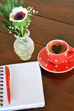 Red spotty mug and note pad Royalty Free Stock Image
