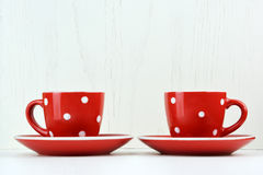 Red spotty mugs Stock Images