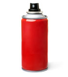 Red spray bottle. Stock Photo