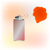 Red spray paint. stain on the wall red Royalty Free Stock Photos