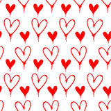 Red spray painted hearts pattern. Red spray painted hearts seamless pattern on white background Royalty Free Stock Photography