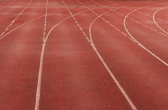 Red sprint track. Red race track lines in stadium royalty free stock photos