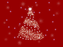 Red spruce. Christmas white tree on a red background with snowflakes stock illustration