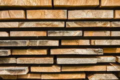 Red spruce pine wood planks for home construction Royalty Free Stock Images