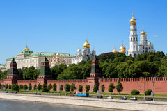 Red square. Russian red Kremlin view at day with river Royalty Free Stock Image
