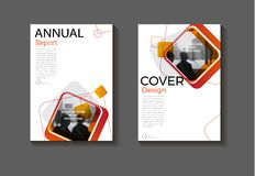 Red square abstrac background modern cover design modern book co. Vert Brochure cover  template,annual report, magazine and flyer layout Vector a4 Royalty Free Stock Image