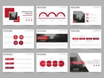 Red Square Abstract presentation templates, Infographic elements template. Flat design set for annual report brochure flyer leaflet marketing advertising banner royalty free illustration