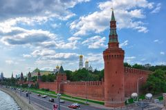 Red Square, Beklemishevskaya Tower of the Moscow Kremlin. The Kremlin embankment. Russia Royalty Free Stock Photo